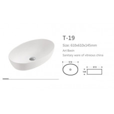 615X410X140mm Bathroom Oval Above Counter White Ceramic Wash Basin Counter Top Wash Basin