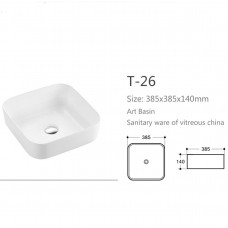 390X390X140mm Above Counter Square White Ceramic Basin Counter Top Was..