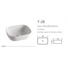 465X330X135mm Above Counter Square White Ceramic Basin Counter Top Was..