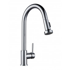 Euro Round Chrome Pull Out/Down Spray Kitchen/Laundry Sink Mixer Taps Swivel Kitchen Tapware