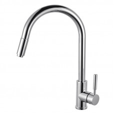 Euro Round Chrome 360° Swivel Pull Out Kitchen Sink Mixer Tap DR Brass