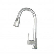 Euro Round Chrome Pull Out/Down Shower Kitchen/Laundry Sink Mixer Taps Swivel Kitchen Tapware