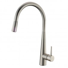 Euro Round Brushed Nickel Pull Out/Down Kitchen/Laundry Sink Mixer Taps Swivel Kitchen Tapware