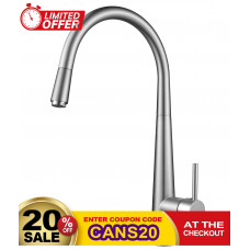 Euro Round Brushed Nickel Pull Out/Down Kitchen/Laundry Sink Mixer Tap..