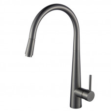 Euro Round Gunmetal Grey 360° Swivel Pull Out Kitchen Sink Mixer Tap S..