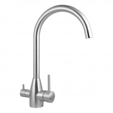 Euro Round Brushed 3 Ways Kitchen Sink Mixer Tap 360° Swivel