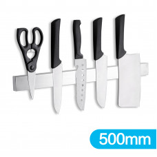 Brushed Silver Magnetic Knife Block Holder 500mm