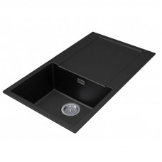 1000*500*200mm Metallic black granite stone kitchen sink with drainboa..