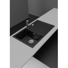 860*500*200mm Metallic black granite stone kitchen sink with drainboar..