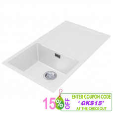 860*500*200mm White granite stone kitchen sink with drainboard Top/Und..