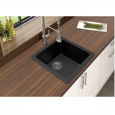 Black Granite Quartz Stone Kitchen/Laundry Sinks Single Bowl Top/Under..