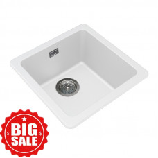 422*422*203mm White Granite Quartz Stone Kitchen/Laundry Sinks Single Bowl Top/Under Mounted White Granite Sinks