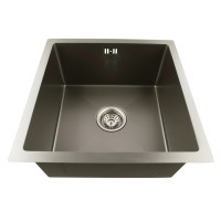 1.2mm Dark Grey Stainless Steel Handmade Single Bowl Top/Undermounted Kitchen/Laundry Sinks 440x440x205mm