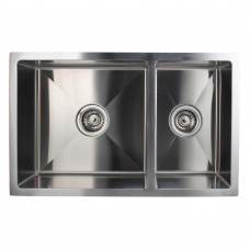 1.2mm Handmade Round Corners Double Bowls Top / Undermounted / Flush Mounted Kitchen Sink 715x450x200mm