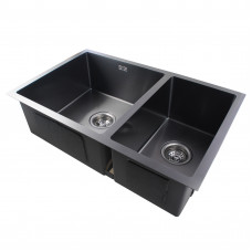 1.2mm Dark Grey Stainless Steel Handmade Double Bowls Top/Undermounted Kitchen Sinks  710x450x205mm