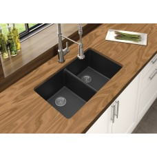 Black Kitchen Sinks Granite Stone Top/Under Mounted Double Bowls Black..