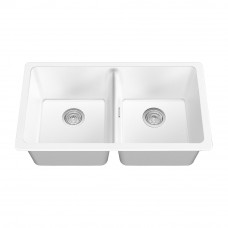 838*476*241mm White Kitchen Sinks Granite Stone Top/Under Mounted Doub..