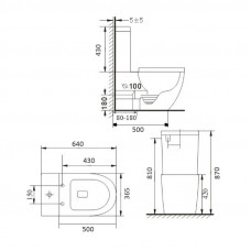 640x365x870mm Ceramic White Box Rimless Back To Wall Toilets Suite Two..