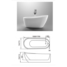 1500x740x700mm Bathtub Freestanding Acrylic Apron White Bath Tub