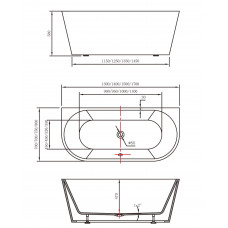 1500x750x580mm Back To Wall Freestanding Acrylic Apron White Bath Tub