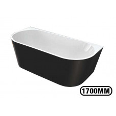 1700x800x580mm Back To Wall Freestanding Acrylic Apron Black Bath Tub