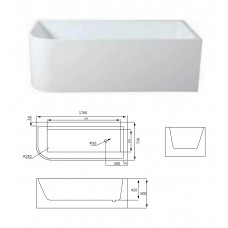 1700x730x500mm Corner Bathtub Right Corner Back to Wall Acrylic Apron ..