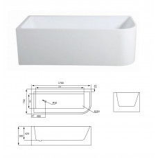 1500x730x500mm Corner Bathtub Left Corner Back to Wall Acrylic Apron W..