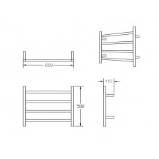 500H*600W*110mm 4 Bar Round Stainless Steel Heated Towel Rail
