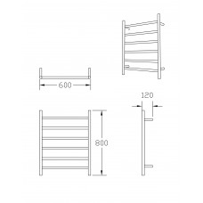 600W x800H x120D 6 Bar Round Heated Towel Rail