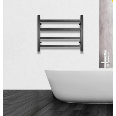 600Wx500Hx120D  4 Square Bar Black Heated Towel Rail