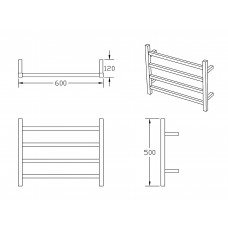 620Wx500Hx120D  4 Square Bar Black Heated Towel Rail