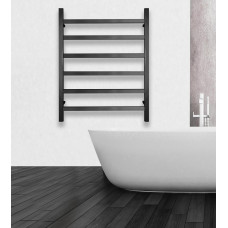 600Wx800Hx120D  6 Squre Bar Black Heated Towel Rail