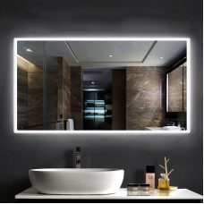 900x700mm Rectangle Shape Black Frame LED Mirror with Demister