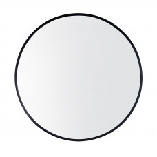 600x600x40mm Black Aluminum Framed Round Bathroom Wall Mirror with Bra..