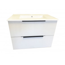 Plywood White Gloss  Wallhung Vanity Unit  750mmx460mm 2 Drawers with  Ceramic Top