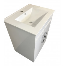 600mm Freestanding Bathroom PVC Vanity Units Cabinet Single Ceramic Top Basin Units