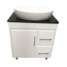 750x 460x755mm White PVC Vanity Units With Handles Legs Cabinet Black Granite Top Ceramic Basin Unit