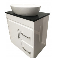 750x 460x755mm White PVC Vanity Units With Handles Legs Cabinet Black ..