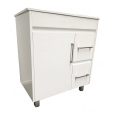 750mm White PVC Vanity Units With Handles Legs Cabinet Single Ceramic Basin Unit