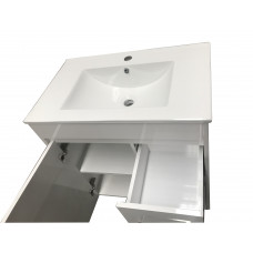 750x460x755mm White PVC Vanity Units With Handles Legs Cabinet Single ..