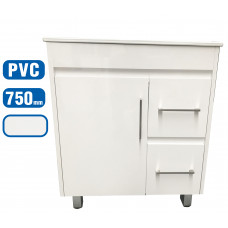 750x460x755mm White PVC Vanity Units With Handles Legs Cabinet Single Ceramic Basin Unit