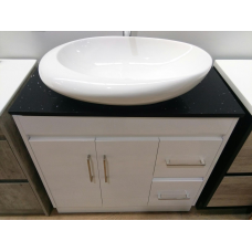 900mm White PVC Vanity Units with 2 Drawers Cabinet Black Granite Top ..