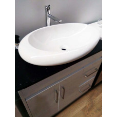 900x460x875mm White PVC Vanity Units with 2 Drawers Cabinet Black Gran..