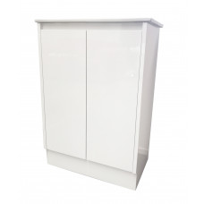 600mm Freestanding White PVC Slim Vanity Units With Kickboard Cabinet Single Ceramic Top Basin Units