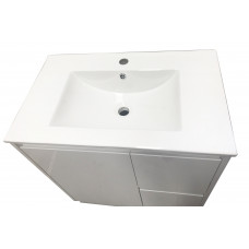 750mm White PVC Vanity Units Without Handles Cabinet Single Ceramic Basin Unit