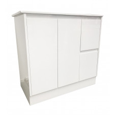 900mm White PVC Vanity Units Without Handles Cabinet Single Ceramic Basin Unit