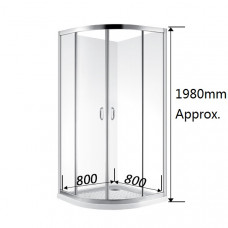 800*800*1900mm 2-Panel Sliding door Round Shower Box