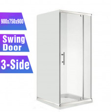 900*750*900mm 3-Side Swing door Square Shower Box