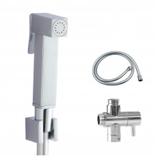 Brass Square Toilet Bidet Spray Diverter Wash Kit with 1.2m PVC Hose