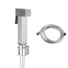 Square Brass Brushed Nickel Toilet Bidet Spray Kit with 1.2m PVC Hose